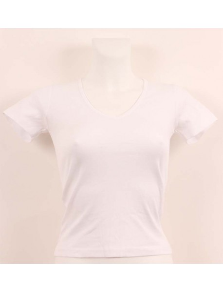 T-shirt femme blanc col style