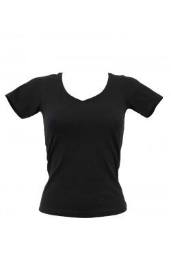 T-shirt femme bleu marine col en V