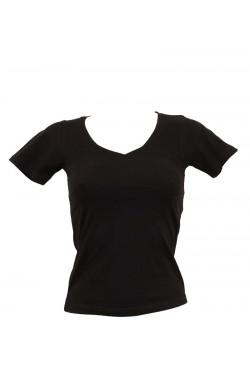 T-shirt femme noir col en V