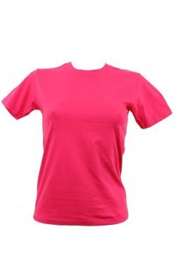 T-shirt femme fuchsia col style en rond