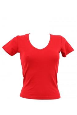 T-shirt femme rouge col style en V