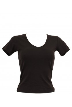 T-shirt femme noir col style en V