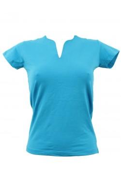 T-shirt femme bleu col grand V