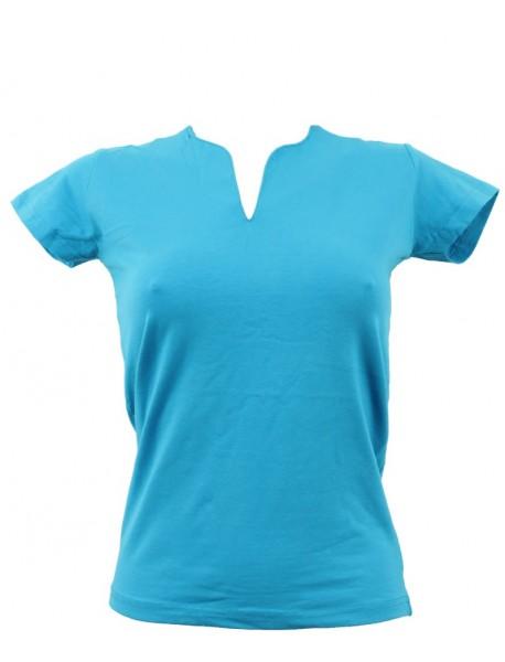 T-shirt femme bleu grand col V
