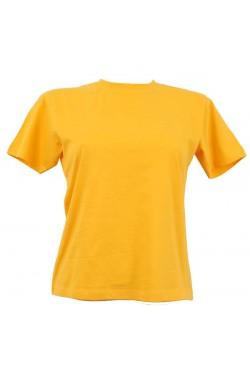 T-shirt femme jaune col style en rond