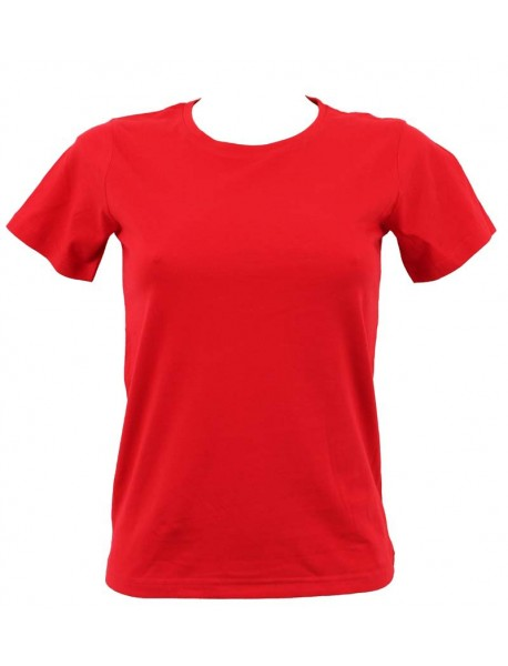 T-shirt femme rouge col rond