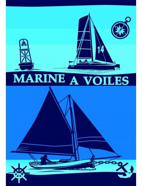 Drap de plage Double Marine à voiles