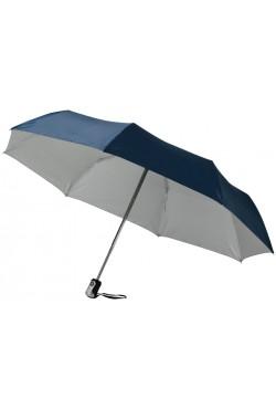"""Parapluie 21,5"""" 3 sections à ouverture et fermeture automatiques, marine / argent"""