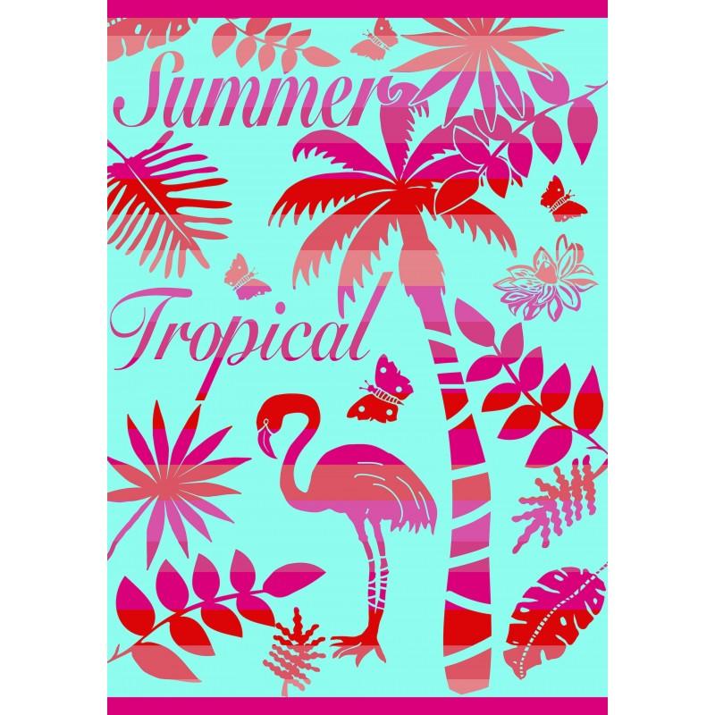 Drap de plage XXL SUMMER TROPICAL - LaServietteDePlage.